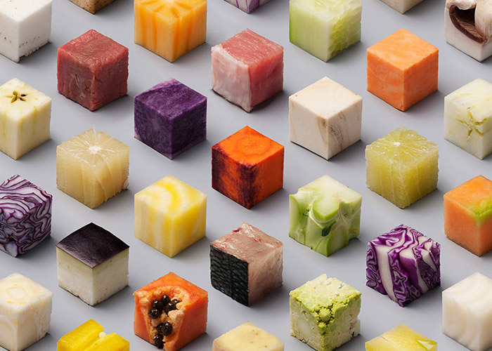 Raw foods in perfect 2.5cm cubes arranged perfectly