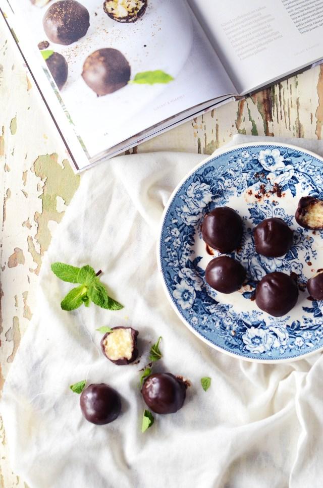 raw mint chocolate truffels