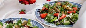 Strawberry Feta Salad w/ Avocado & Herb Croutons