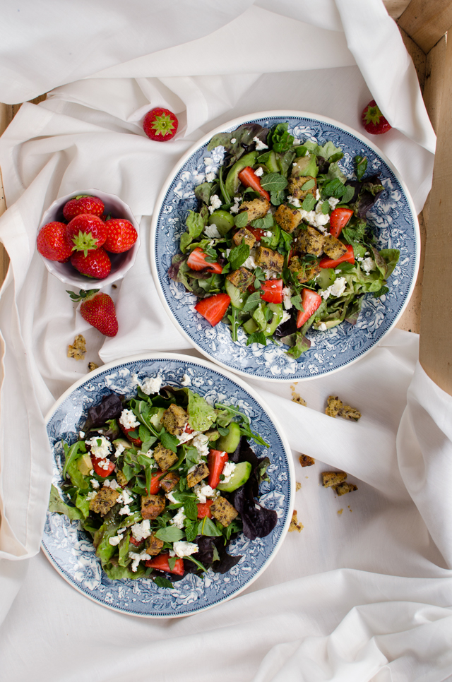 strawberry avocado salad w/ feta cheese