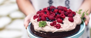 Gluten-free Chocolate Cake w/ Chocolate Coconut Cream & Berries