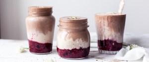 Chocolate & Vanilla Hemp Smoothie w/ Mashed Berries