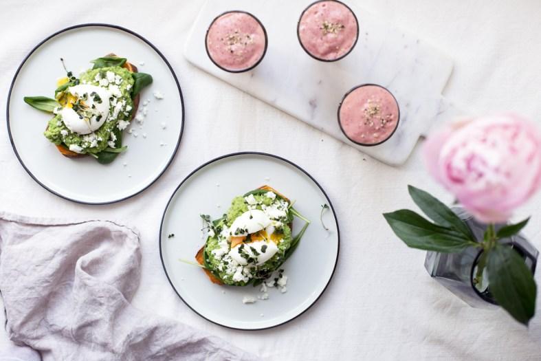 Sweet Potato Toasts w/ Avocado Pea Mash, Feta & Eggs