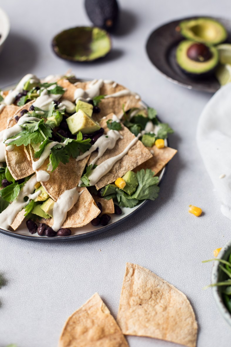 Healthy Vegan Nachos + Homemade Tortilla Chips