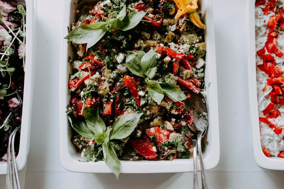 roasted veggies with feta