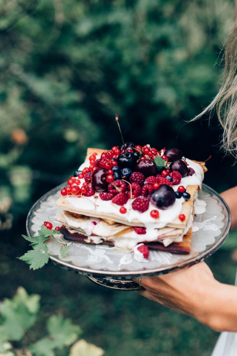 Pancake Cake w/ Summer Berries (gluten + dairy-free) | tuulia blog