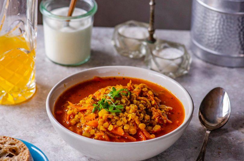 Läätsesupp tomati ja porgandiga. Lihtne ja maitsev