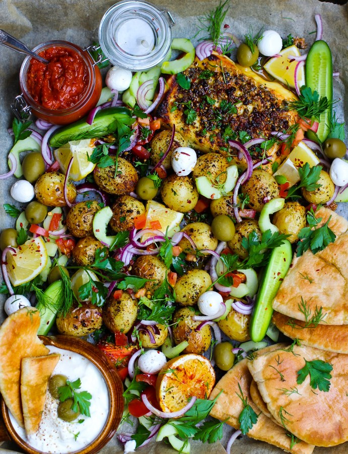 Halloumikebab med rostad potatis: mitt favoritrecept från Plåtmat!