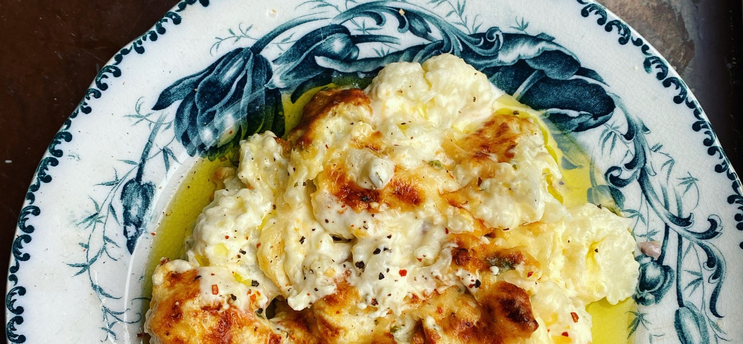 Cauliflower cheese med 3xost, jalapeños och vitlöksfärskost