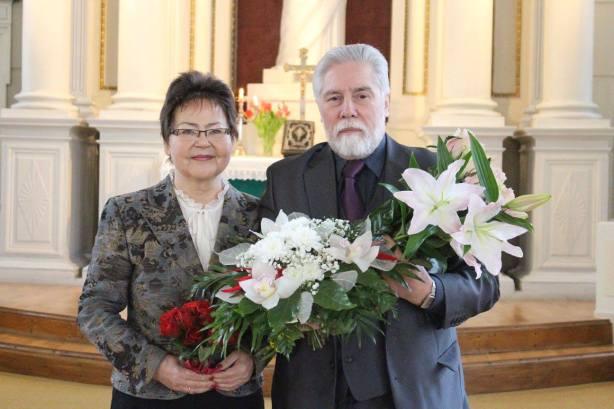 Rita un Pāvils Brūveri Rīgas Jēzus ev.lut.baznīcā. Foto: Ivars Kupcis