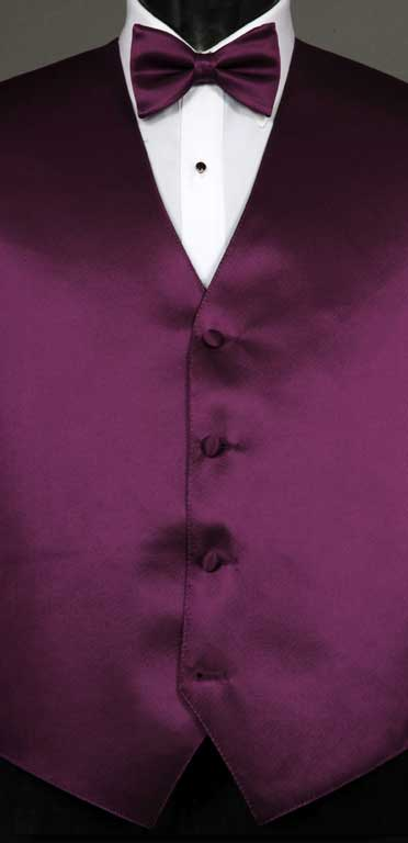 Aubergine simply solid vest with matching bow tie