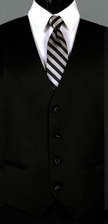 Black Ike Behar formal vest with Striped Windsor tie