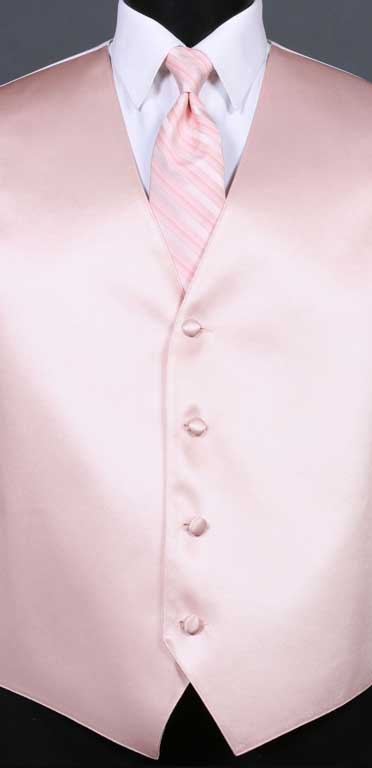 Blush Simply Solid Vest with Blush Multi Stripe Windsor Tie