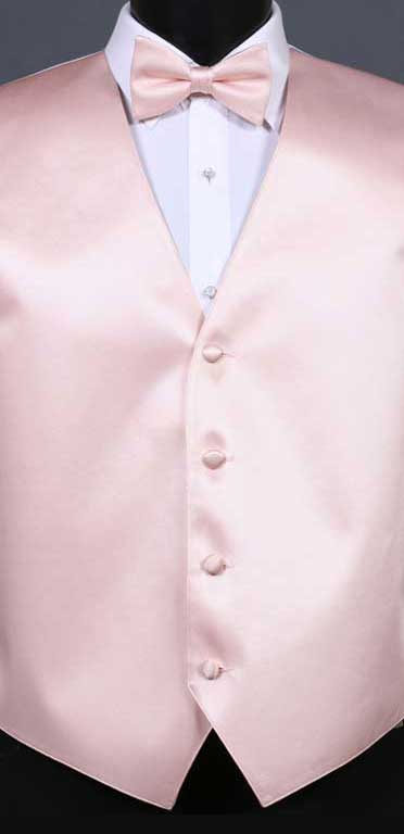 Blush Simply Solid Vest and Bow Tie