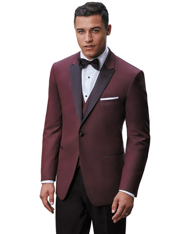 Burgundy Marbella Dinner Jacket with black satin peak lapel