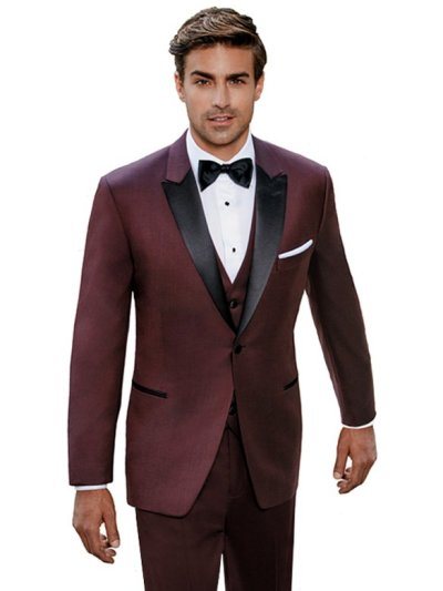 Burgundy Marbella Tuxedo with black satin peak lapel