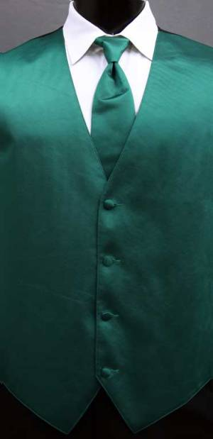 Emerald simply solid vest with matching Windsor tie