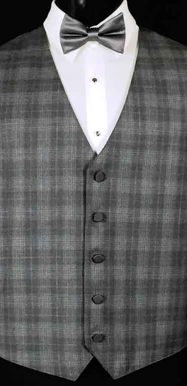 Grey Plaid Sterling Vest with solid grey bow tie