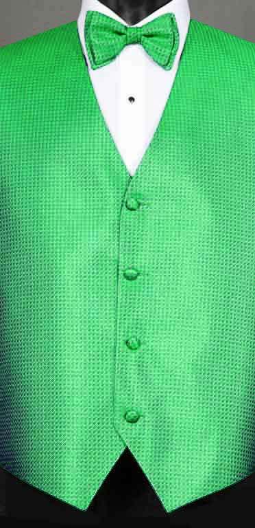 Kelly Green Devon vest with matching bow tie