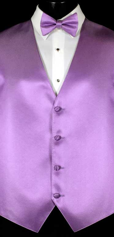Lavender simply solid vest with matching bow tie