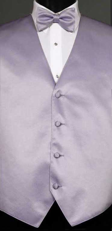 Lilac simply solid vest with matching bow tie