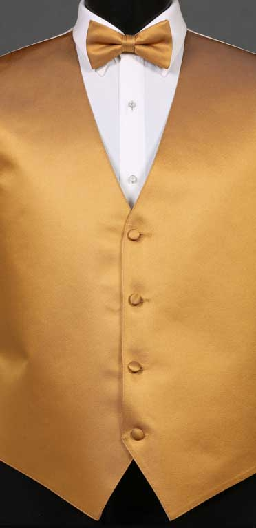 Midas Gold simply solid vest with matching bow tie