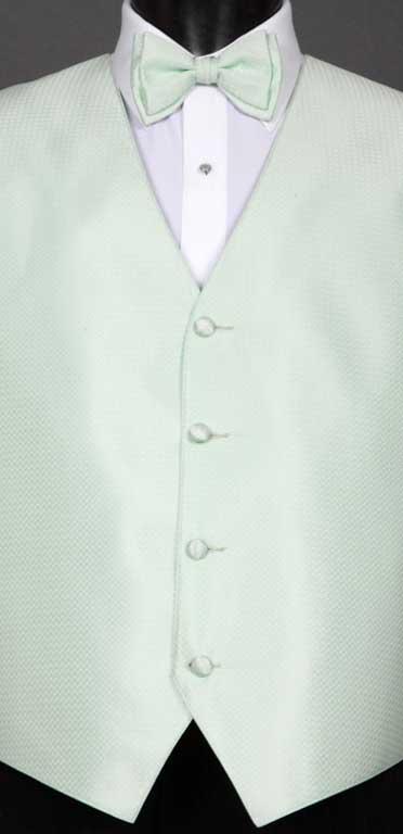Pistachio Devon vest with matching bow tie