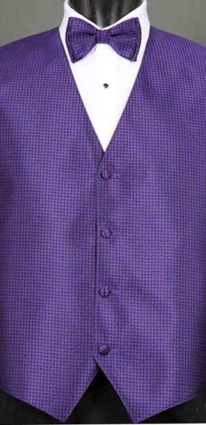 Purple Devon vest with matching bow tie