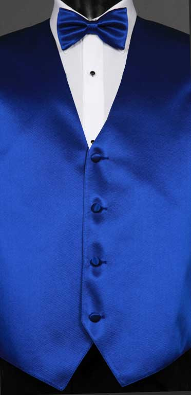 Royal Blue simply solid vest with matching bow tie