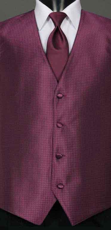 Sangria Devon vest with matching Windsor tie