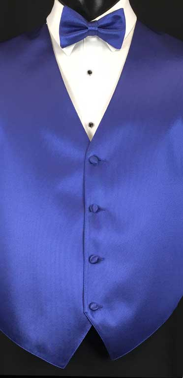 Sapphire Blue simply solid vest with matching bow tie