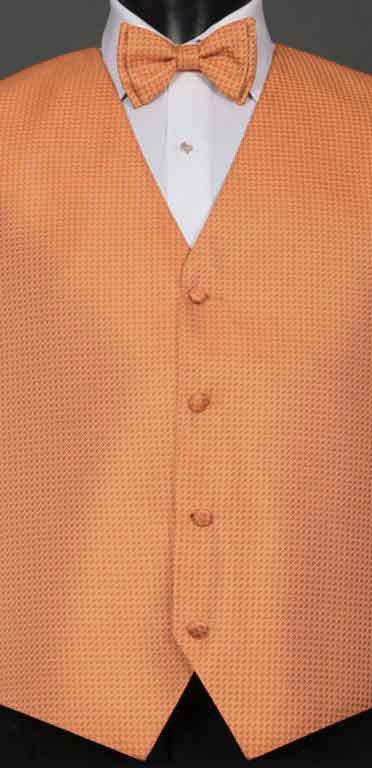Tangerine Devon vest with matching bow tie