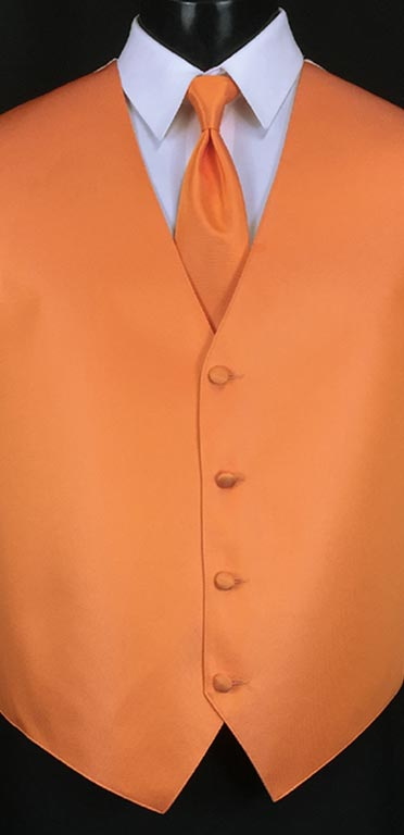 Tangerine simply solid vest with matching Windsor tie