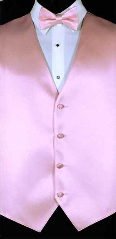 Tea Rose simply solid vest with matching bow tie
