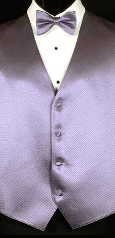 Victorian Lilac simply solid vest with matching bow tie