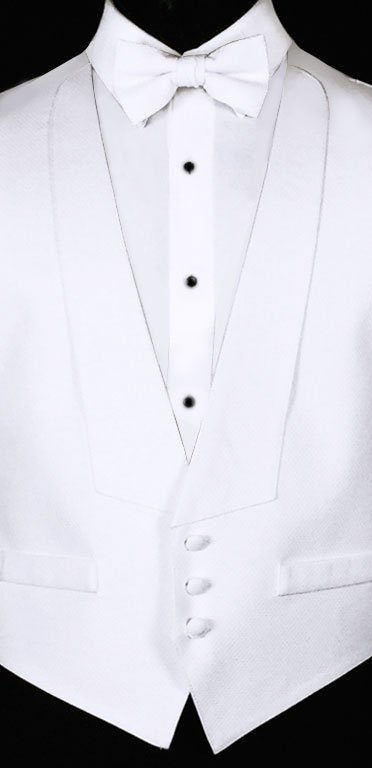 White Pique vest and bow tie and white pique shirt