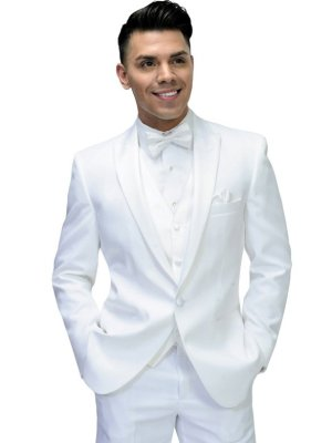 White Portofino Tuxedo with White Satin pick stitch lapel