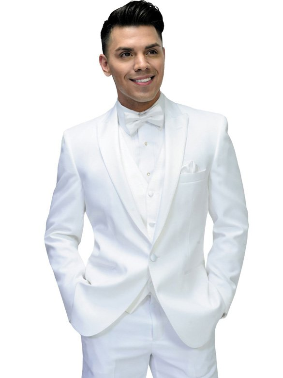 White Portofino Tuxedo with White Satin pick stitch lapel