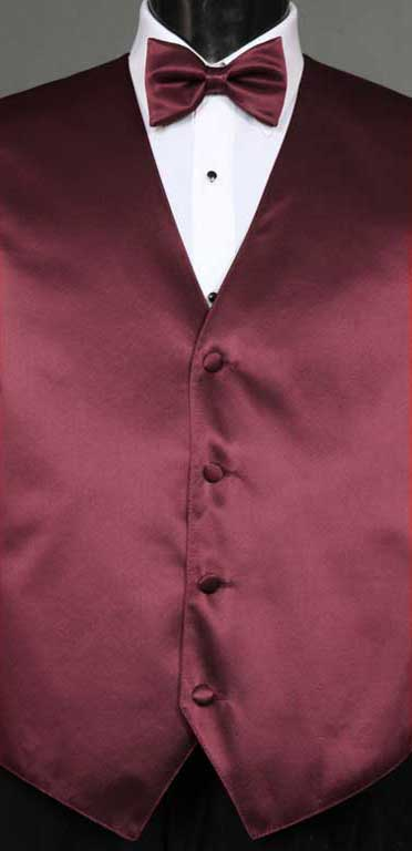 Wine simply solid vest with matching bow tie