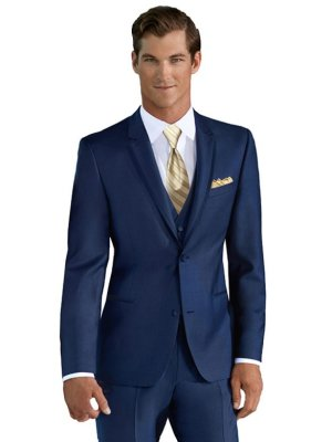 Azure Blue Wedding Suit shown with Gold striped Windsor tie