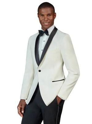 Ivory Dawson Ivory tuxedo with black satin shawl lapel