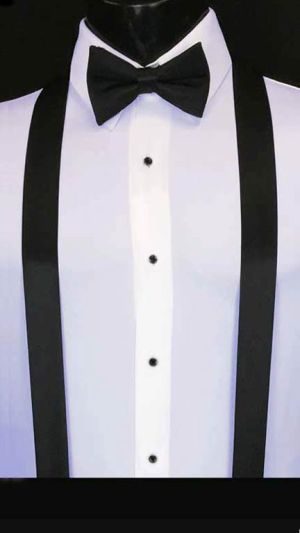 Black simply solid suspenders with matching bow tie