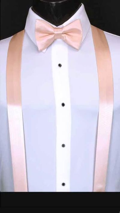 Blush simply solid suspenders with matching bow tie