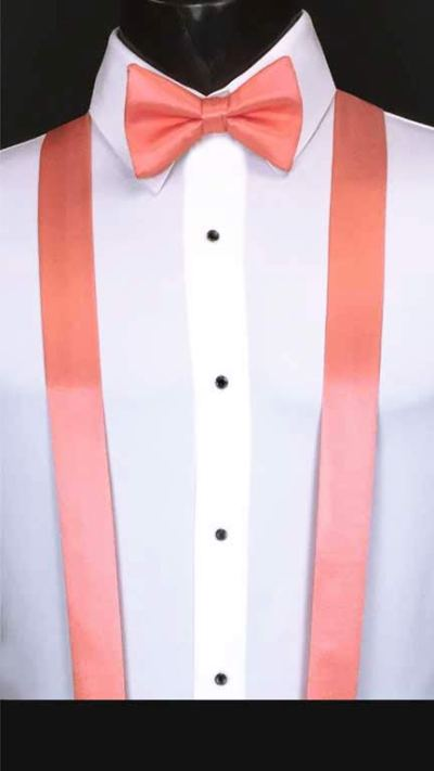 Coral Reef simply solid suspenders with matching bow tie