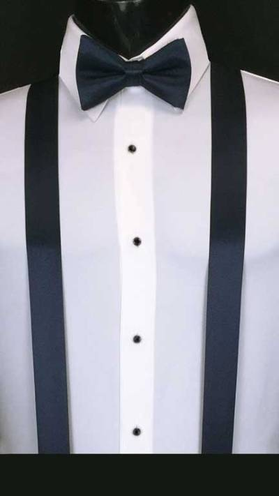 Dark Navy simply solid suspenders with matching bow tie