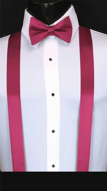Fuchsia simply solid suspenders with matching bow tie