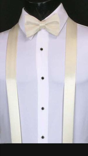 Ivory simply solid suspenders with matching bow tie