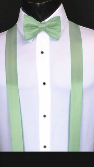 Mint simply solid suspenders with matching bow tie
