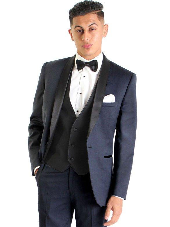 Navy Lorenzo tuxedo with black satin shawl lapel
