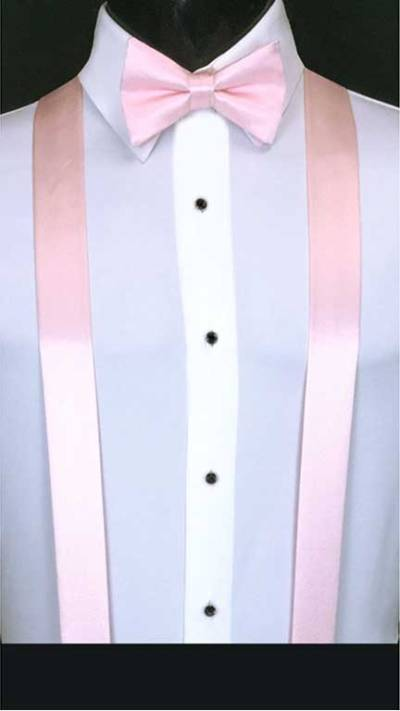 Pink simply solid suspenders with matching bow tie